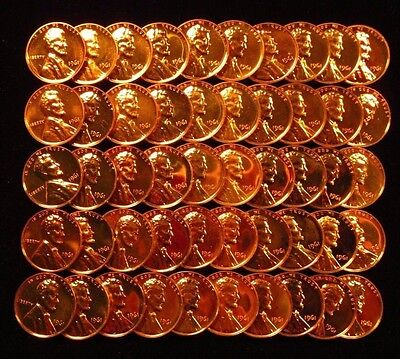 1961 Lincoln Memorial Cent Penny 1C Gem Proof Full Roll 50 Coins