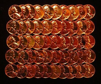 1962 Lincoln Memorial Cent Penny 1C Gem Proof Full Roll 50 Coins