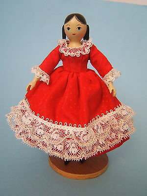 "Artist Sherman Smith Peggy PEG Curls 5 3/4"" Hitty Type Jointed Wood Doll Dressed"