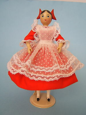 Artist Sherman Smith Miss Julie Red Bows Hitty Type 6'' Carved Jointed Wood Doll