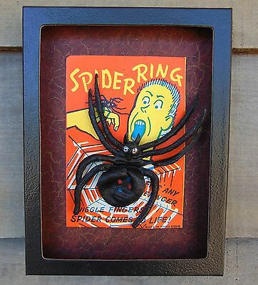 "VINTAGE 1960s? Large SPIDER RING Rubber NICE Framed 6""X8"" Display Halloween MOC"