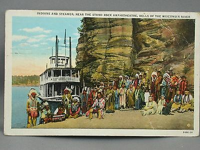 1937 Postcard Natives & Steamer near Stand Rock Amphitheatre Dells of Wisconsin