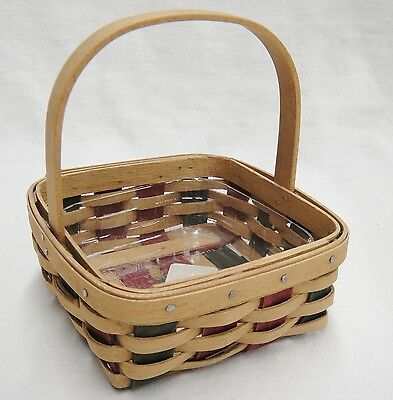 Longaberger Stuck on You Basket for Sticky Notes Red & Green w Protector 2003