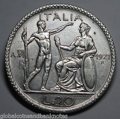 Italy - 1927 20 Lira, Silver Coin - Good Very Fine
