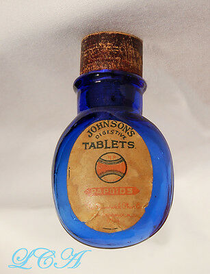 Wonderful tiny BPCo COBALT BLUE qp PILL bottle POCKET FLASK Johnson JOHNSON labl