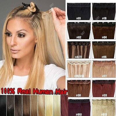 Highlight One Piece Real Clip in Remy Human Hair Extensions Full Head US 100G II