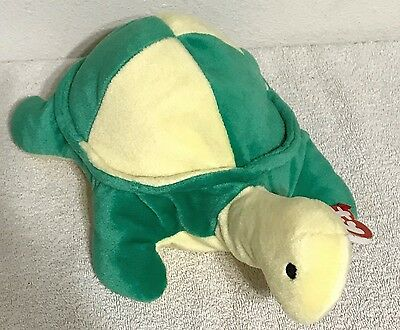 """Ty Beanie Pillow Pal 12"""" Snap the Turtle Green Yellow w/ Swing Tag & Tuish Tag"""