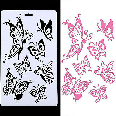 DIY Craft Butterfly Stencils Template Painting Scrapbooking Stamps Album white