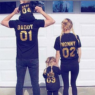 Family Matching Outfits DADDY MOMMY KID BABY Shirt T-shirt Couple Clothes B