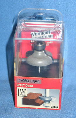 "Vermont American 23145 Carbide Tipped 1/4"" Shank 3/16"" Ogee Router Bit - NEW"