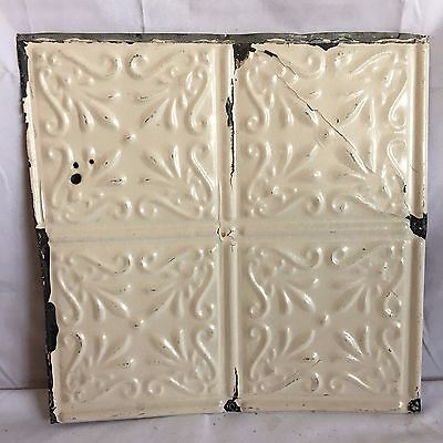 1890's 12 x 12 Antique Tin Ceiling Tile Ivory Metal Reclaimed Anniversary 211-17