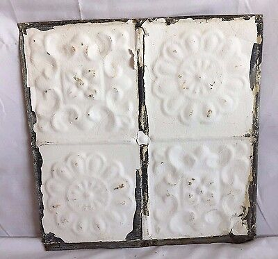 1890's 12 x 12 Antique Tin Ceiling Tile Metal Reclaimed White Anniversary 213-17