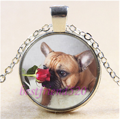 French Bulldog and Rose Cabochon Glass Tibet Silver Chain Pendant Necklace