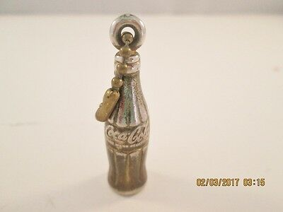 Small Goldtone COCA-COLA BOTTLE KEY-CHAIN on Ball Chain