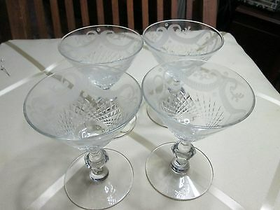 SET 4 ANTIQUE CUT CRYSTAL Etched Swags GLASS STEM Wine Glasses