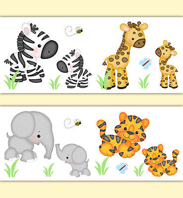 Safari Animals Nursery Baby Boy Neutral Wallpaper Border Wall Art Decal Stickers