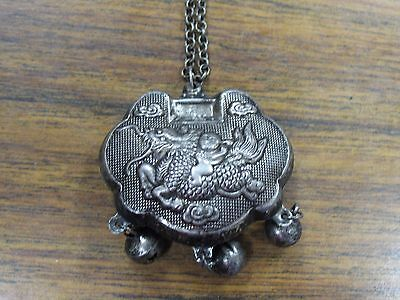 Vintage Small Metal Silver Chinese Dragon Amulet Pendant Necklace With Chain