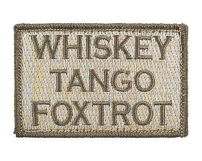 Whiskey Tango Foxtrot Tactical Funny Hook Loop Embroidered Morale Tags Patch SUB