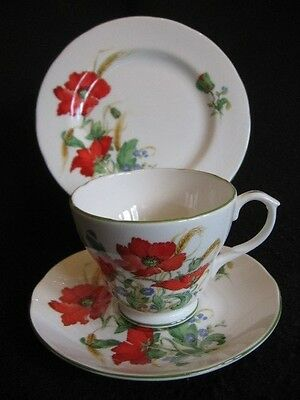 VINTAGE DUCHESS CHINA 'POPPIES' #659 CUP/SAUCER/PLATE TRIO c.60's Nr mint!!