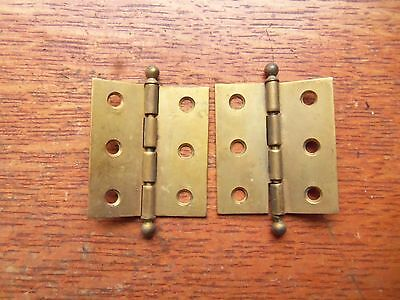 """Two Antique Victorian Small Brass Cupboard Door Hinges 2"""" Tall"""