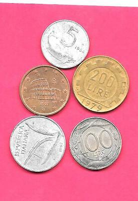Italy Italian 5 Diff Different 1954-2002 Circ  Coin Lot Collection Set W Old