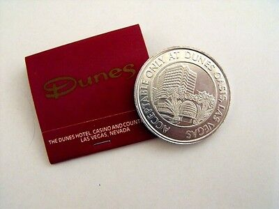 DUNES CASINO Vintage Las Vegas GAMING SLOT Free Play TOKEN & MATCHBOOK