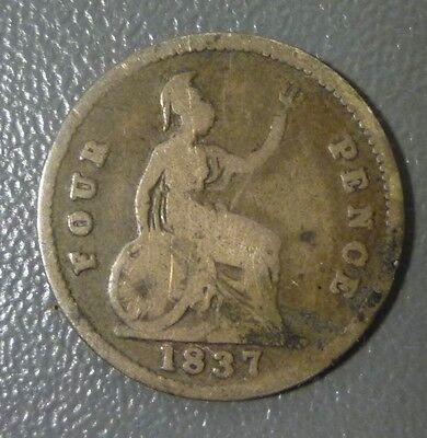 Great Britain 1837 Four Pence Silver Coin