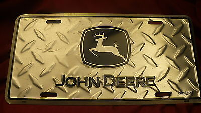 John Deere license plate decorative diamond embossed metal