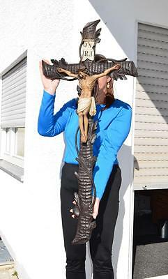 GREAT19thc Black forest ANTIQUE CRUCIFIX  Christ Cross mint condition 45.5 in