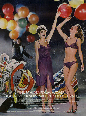 The Maidenform Woman camisole demi-bra panties Sweet Nothings ad 1982 balloons