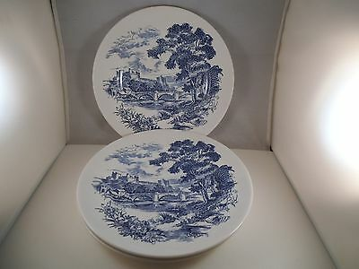 Vintage Wedgwood Enoch Tunstall Set of 3 Dinner Plates Blue Countryside