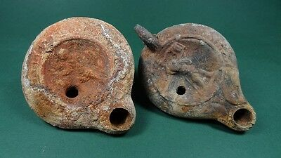 2 Roman Terracotta Oil Lamps Eros Playing His Harp & Standing Figure