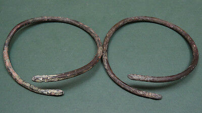 2 Ancient Bracelets Snake Head Design Bronze Greco-Roman 200 Bc - 100 Ad