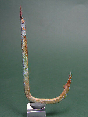 Ancient Fishing Hook Bronze Large Size Roman Or Earlier 200 Bc-100 Ad