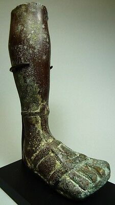 Ancient Gladiator Leg Bronze - Part Of Statue - Large Size - Roman 100-300 Ad