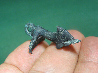 Ancient Dolphin Pendant Bronze Late Period 300-100 Bc