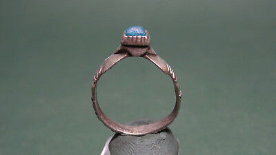 Ancient Silver & Glass Ring Rich Designs Byzantine 450-750 Ad