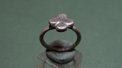 Ancient Silver Cross Ring With Religious Christian Sign Byzantine 700-900 Ad