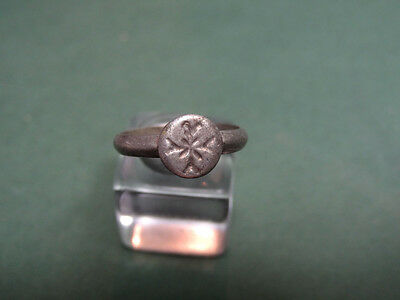 Ancient Silver Child Ring Cross Christian Sign Byzantine 400-600 Ad