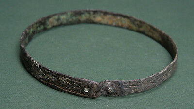 Bronze Inscribed Bracelet - Arrow Fish & X Designs Byzantine 400-600 Ad