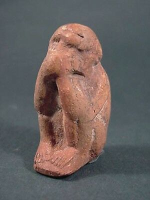 Ancient Terracotta Baboon Figure Egypt Late Period 716 - 30 Bc