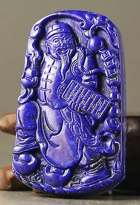 Chinese old natural Lapis lazuli hand-carved jade pendant 2.1 inch