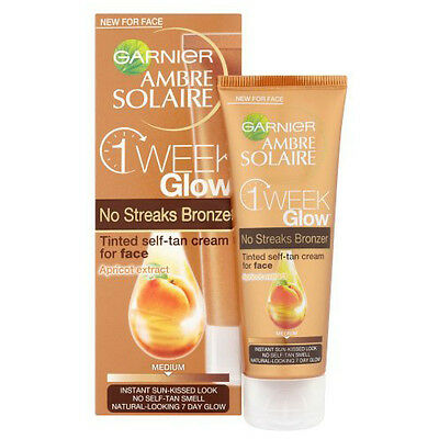 Garnier Ambre Solaire 1 Week Glow No Streaks Bronzer Tinted Face Tan Cream 50Ml