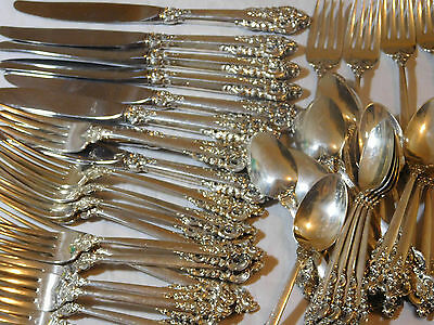 41 Pieces Wallace Grand Baroque Sterling Silver Flatware Set  Service For 8