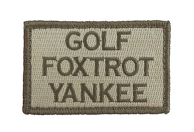Golf Foxtrot Yankee Hook & Loop Tactical Funny Morale Tags Patch Subdued