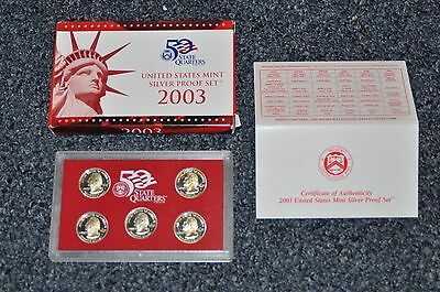 *2003 United States Mint Silver Proof Set 5 State Quarters Only w/ COA
