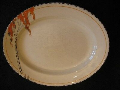 "ART DECO BURGESS & LEIGH HAND-PAINTED #5040 11"" OVAL PLATTER c.1930's"