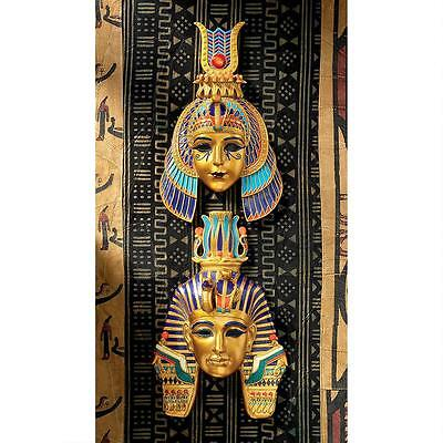 Set of 2: Ancient Egyptian Dynasty Pharaoh & Queen Mask Wall Sculpture