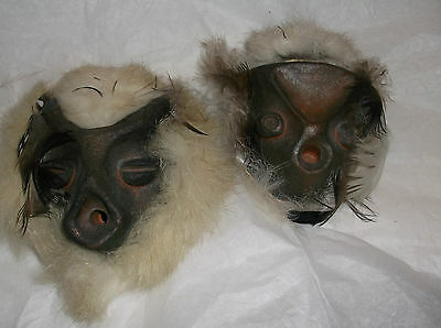 Vintage Stone carved native american miniature masks w/feathers wall hanging