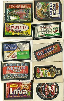 1970's mixed lot of (10) TOPPS WACKY PACKAGES - vg - LOVA, RICA-A-PHONI, ++